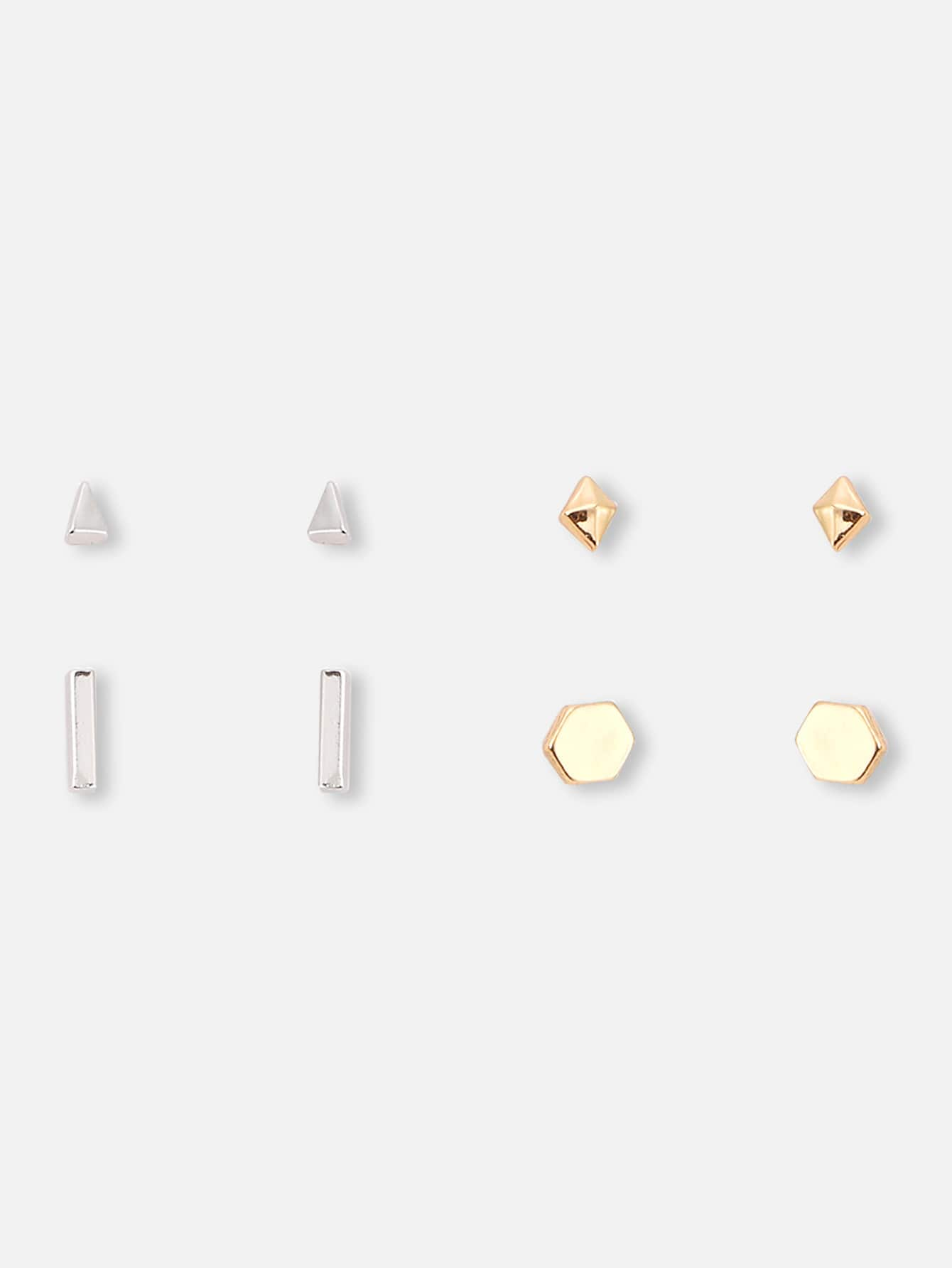 4pairs Multicolor Geometric Alloy Stud Earrings