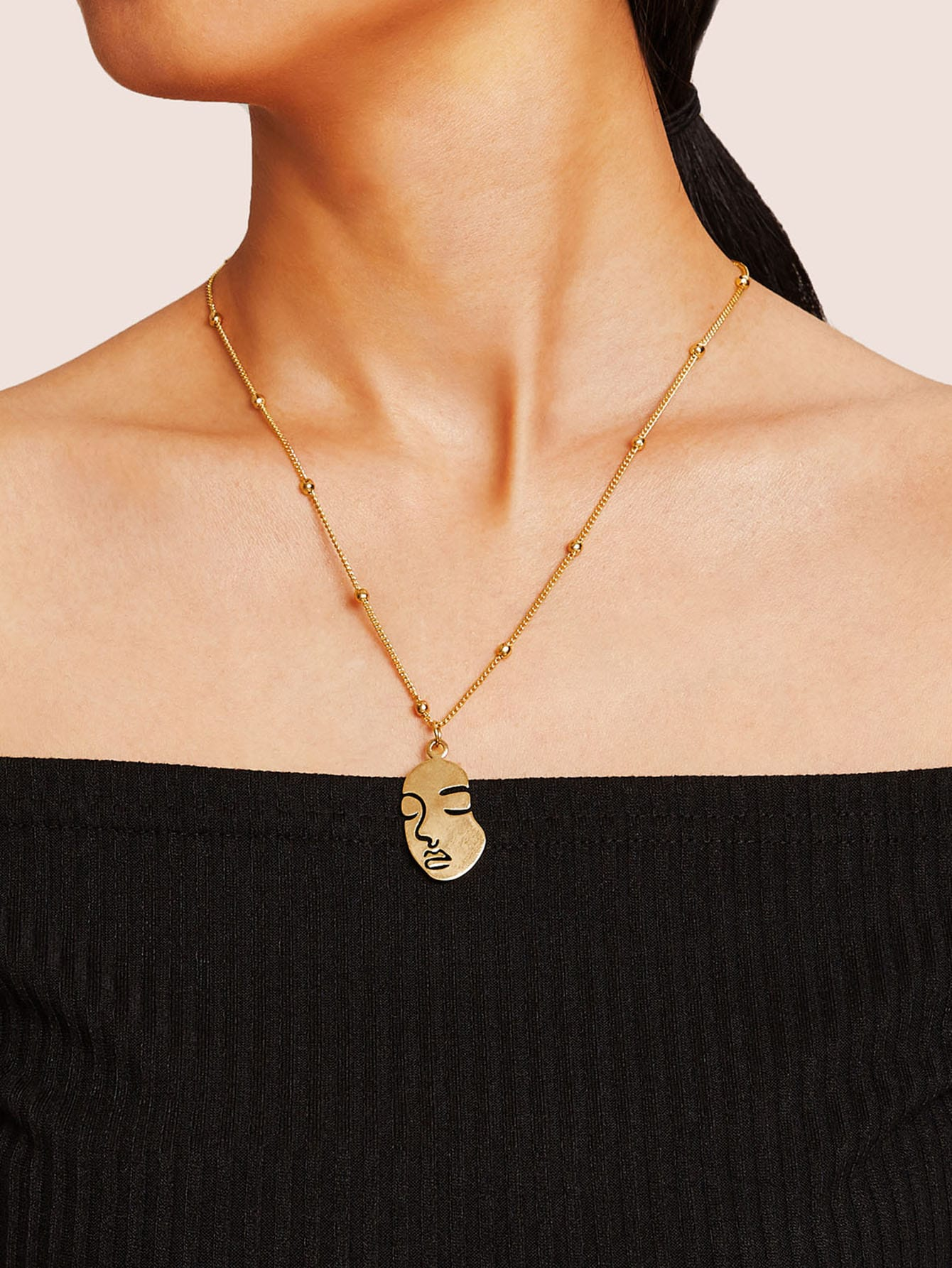 Golden Face Pendant With Ball Chain 1pc Necklace