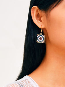 Multicolored Square Color-block Drop 1 Pair Earrings