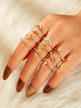 Load image into Gallery viewer, 10pcs Gold Pearls & Rhinestone Detail Rings Set
