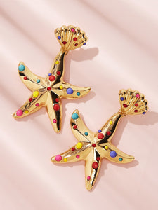 Golden 1pair Stone Decor Metal Starfish Shaped Earrings