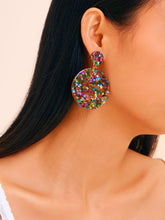 Load image into Gallery viewer, Multicolor Double Round 1pair Drop Dangle Earrings