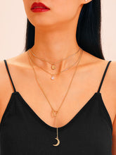 Load image into Gallery viewer, Golden 1pc Heart & Moon Charm Lariats Chain Necklace