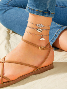 Grey Shell & Fishtail Charm 3pcs Chain Anklet