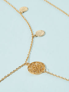 Double Layered Golden Coin Charm 2pcs Body Chain