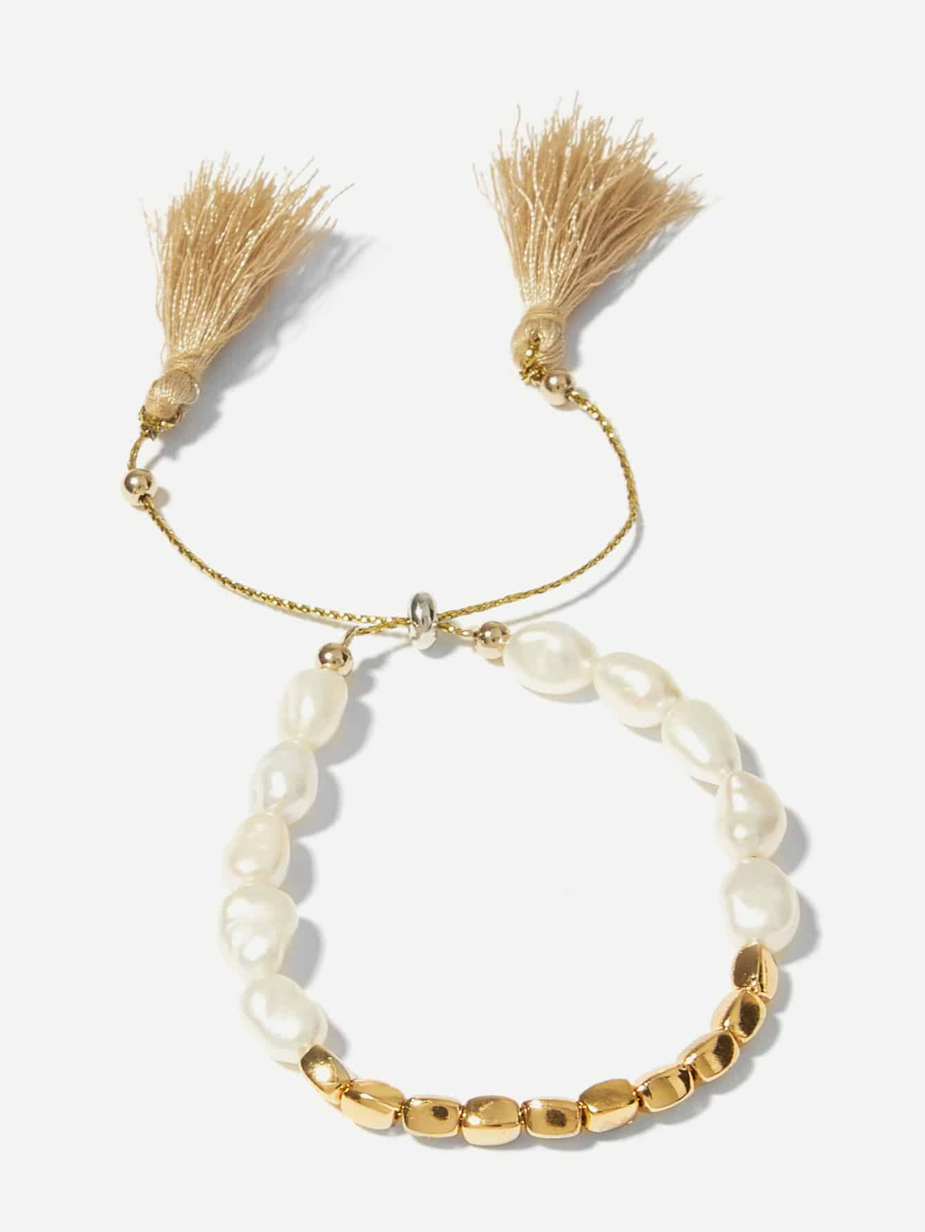 Golden Beaded And Tassel With White Faux Pearl Bracelet 1pc