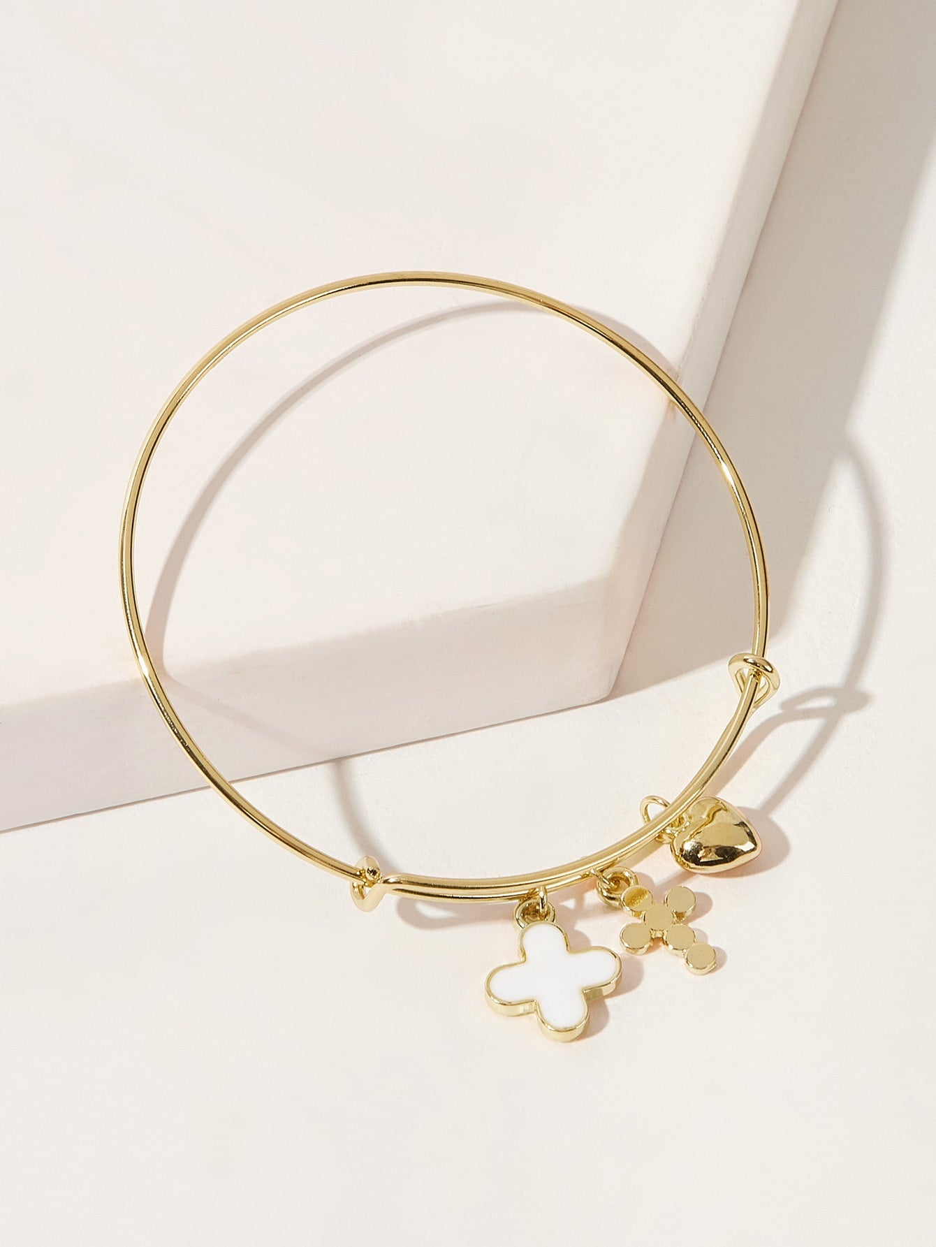 Golden Cross & Heart Charm Bangle Bracelet 1pc