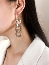 Load image into Gallery viewer, 1 Pair Golden Triple Link Drop Textured Detail Dangle Earrings