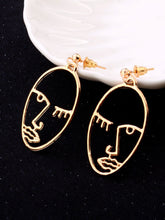 Load image into Gallery viewer, Golden Open Face 1 Pair Dangle Earrings