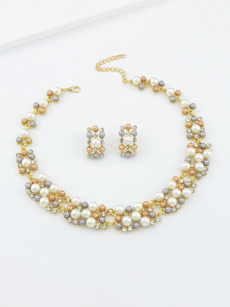 Multicolored Fake Pearl Necklace And Earrings Set
