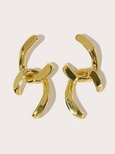 Golden Link Cut 1 Pair Hoop Dangle Earrings