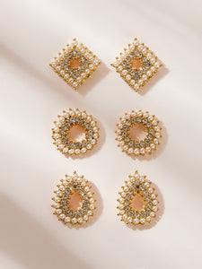 Golden Open Geometric Rhinestone & Pearls Engraved 3 Pairs Stud Earring