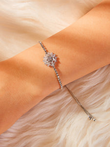 Grey Adjustable Rhinestone 1pc Chain Bracelet