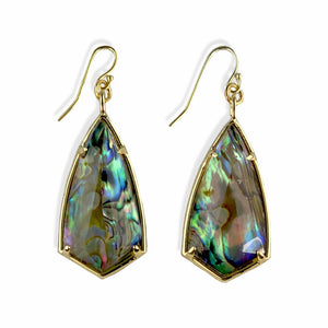 Chrissy Gold Plated Abalone Dangle Earrings