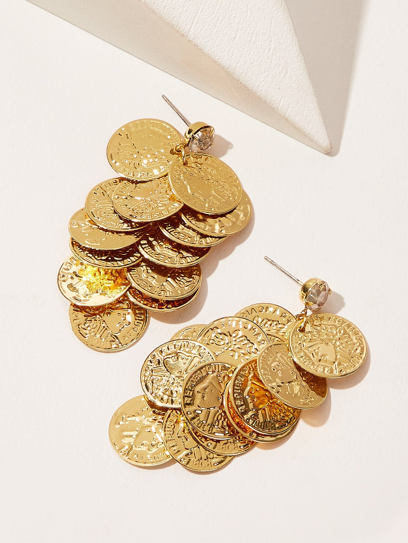 Golden Layered Coin 1 Pair Dangle Earrings
