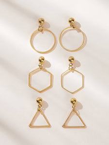 3pairs Golden Geometry Charm Alloy Drop Dangle Earrings