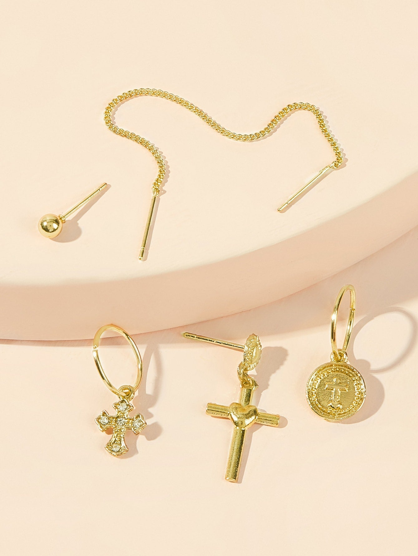 Golden Cross & Coin Dangle Or Stud 5pcs Earrings