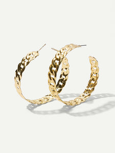 Golden Hollow Design 1 Pair Hoop Earrings