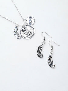 Silver Leaf And Owl Bohemian Metallic Pendant Necklace With Earrings
