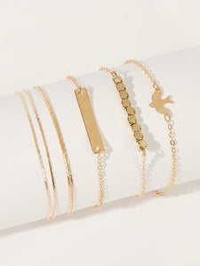 Golden Bar & Bird Charm Chain Bracelet 4pcs