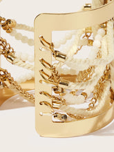 Load image into Gallery viewer, Golden Double Layered Bead & Chain Adjustable Cuff Bracelet 1pc