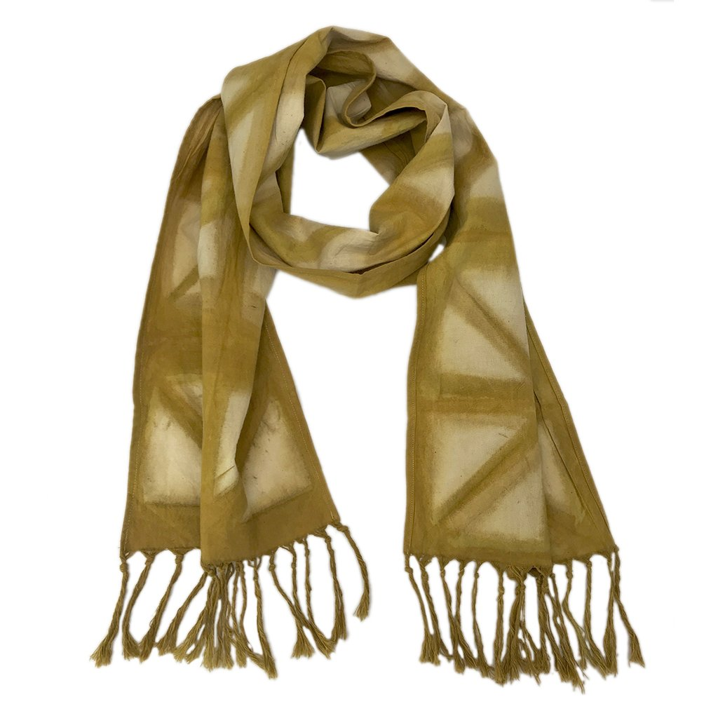 Mango Tie Dyed Cotton Scarf With Fringe Tassels