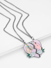 Load image into Gallery viewer, Grey And Pink Heart Pendant Silver 2Pcs Chain Necklace