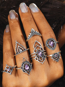 Grey Purple 7pcs Flower Shaped Silver Ring Set With Gemstone