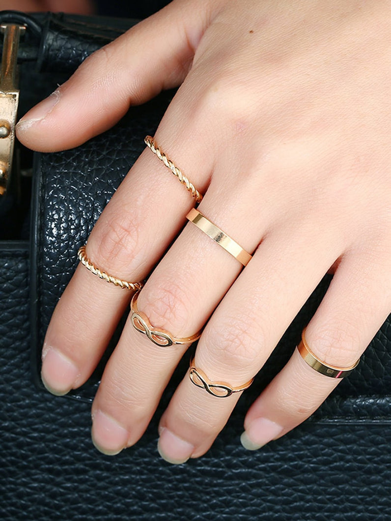 Golden 6pcs Plaited & Infinity Metal Ring