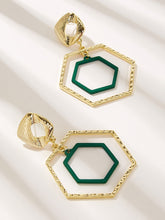Load image into Gallery viewer, Green And Green Abstract Double Polygon Shaped Open 1 Pair Hoop Earring