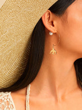 Load image into Gallery viewer, Golden 1pair Swallow & Faux Pearl Metal Decor Dangle Earrings