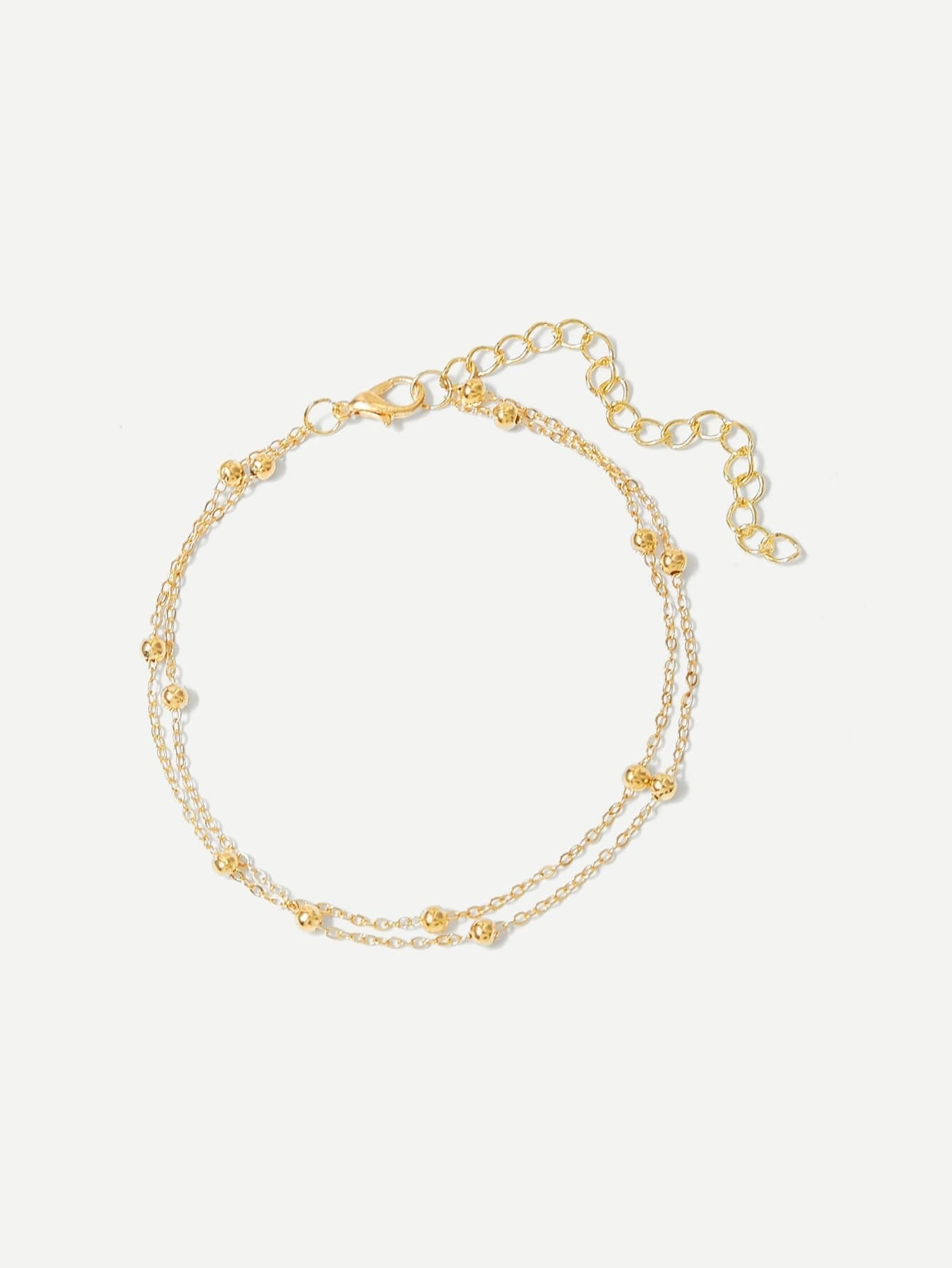 Golden And Silver Layered Chain Ball Detail Metal Anklet