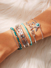 Load image into Gallery viewer, Multicolored Letter & Leaf Detail 5pcs Cuff, Link Bracelet