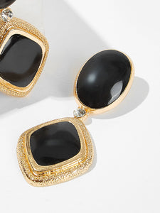 Black And Golden Oval & Square 1 Pair Dangle Earrings