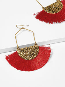 Red And Golden Tassel Fan Shaped 1 Pair Drop Dangle Earrings