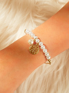 Golden Hollow Flower With Faux Pearl Charm 1pc Bracelet