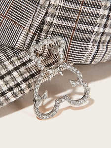 Grey Rhinestone Open Bear Shaped 1pc Brooch