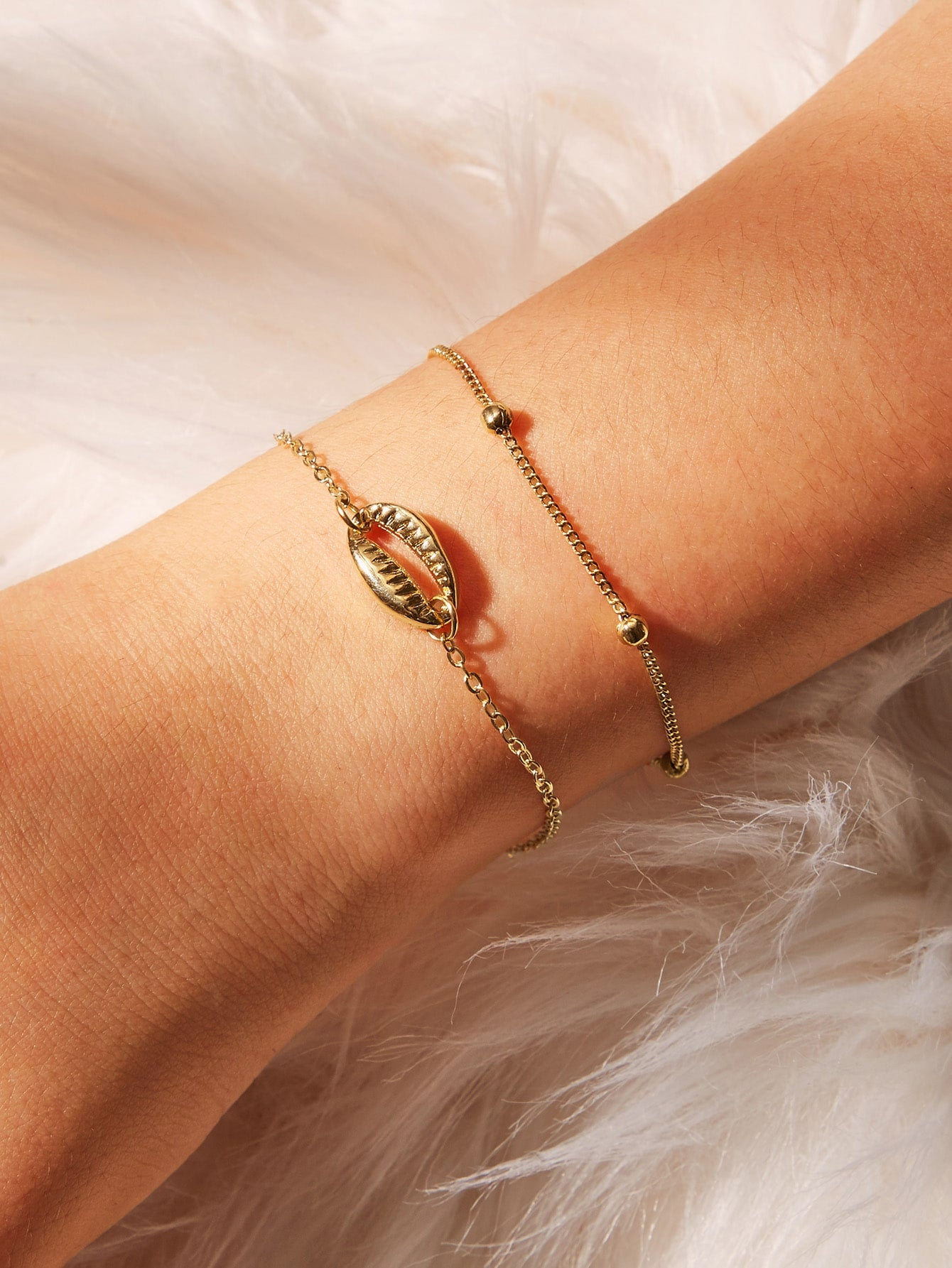 2pcs Golden Shell Detail Chain Bracelet