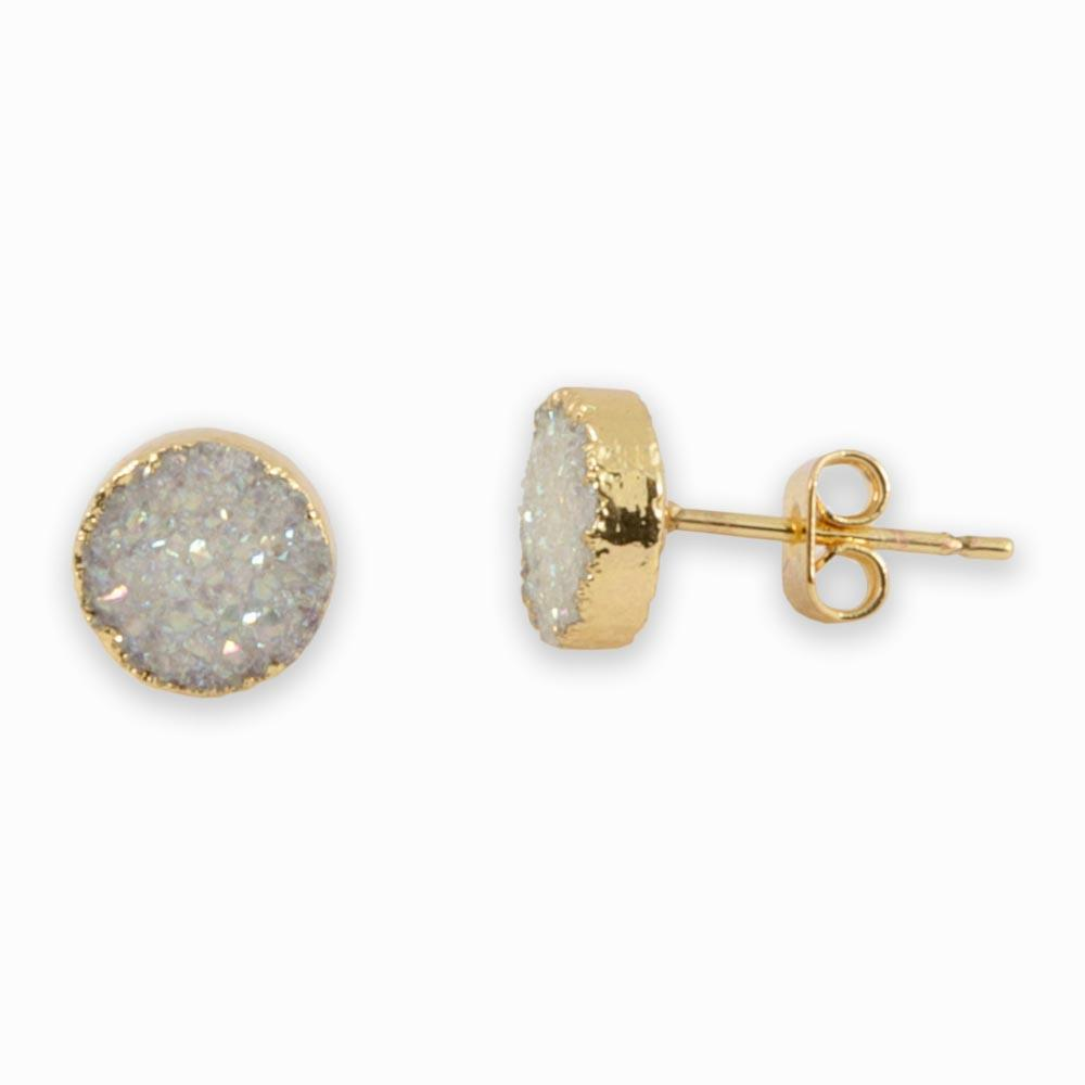 Jeanna Gold Plated Sparkling Druzy Agate Stones Stud Earrings