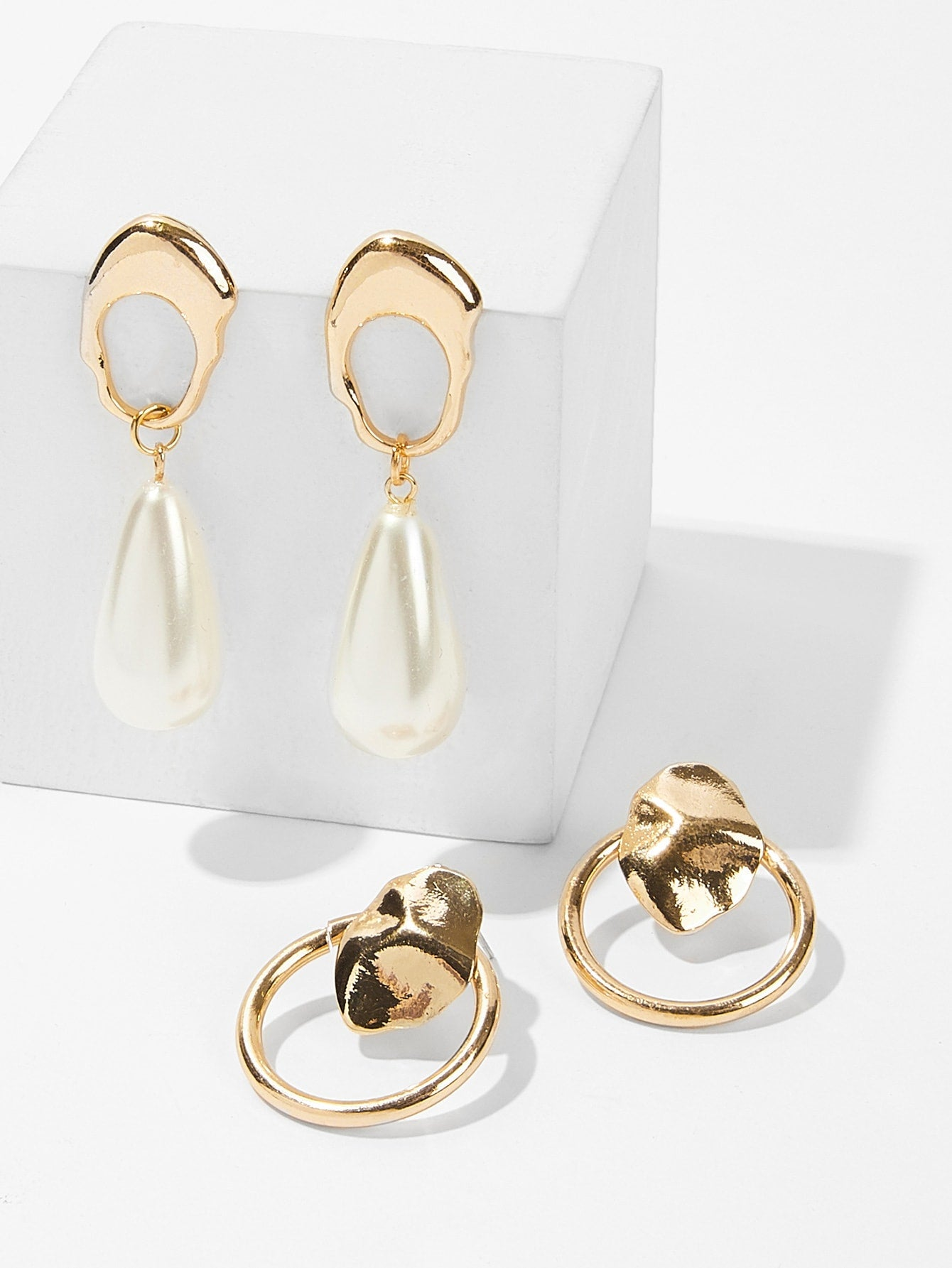 Golden Abstract White Pearl Metal Hoop & Dangle Earrings