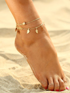 Golden Double Layered Leaf Decorated Metal Chain Anklet