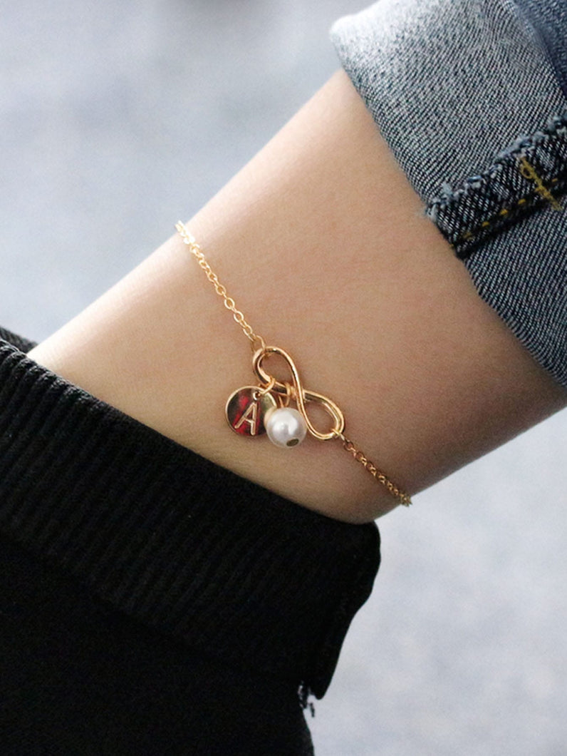 Golden Infinity & Letter With Pearl Chain Anklet
