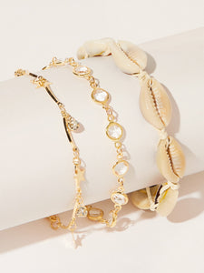 Beige Shell & Rhinestone Decor 3pcs Chain Anklet