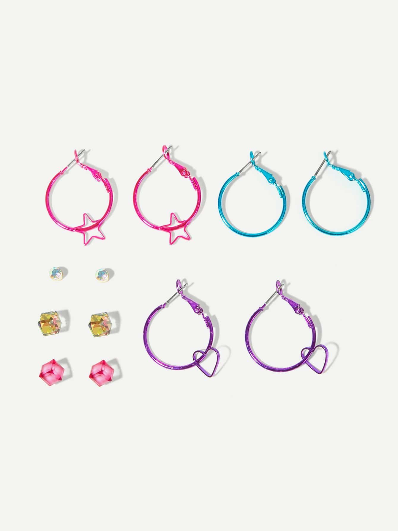 6 Pairs Multicolored Star & Heart Hoop, Stud Earrings