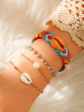 Load image into Gallery viewer, Multicolored Band With Shell Decor &  Faux Pearl Golden Chain Bracelet 4pcs