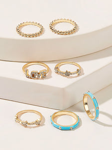 7pcs Multicolored Letter Shaped Rhinestone Engraved Golden Ring
