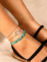 Load image into Gallery viewer, Silver Ring & Turquoise Decor 3pcs Chain Anklet