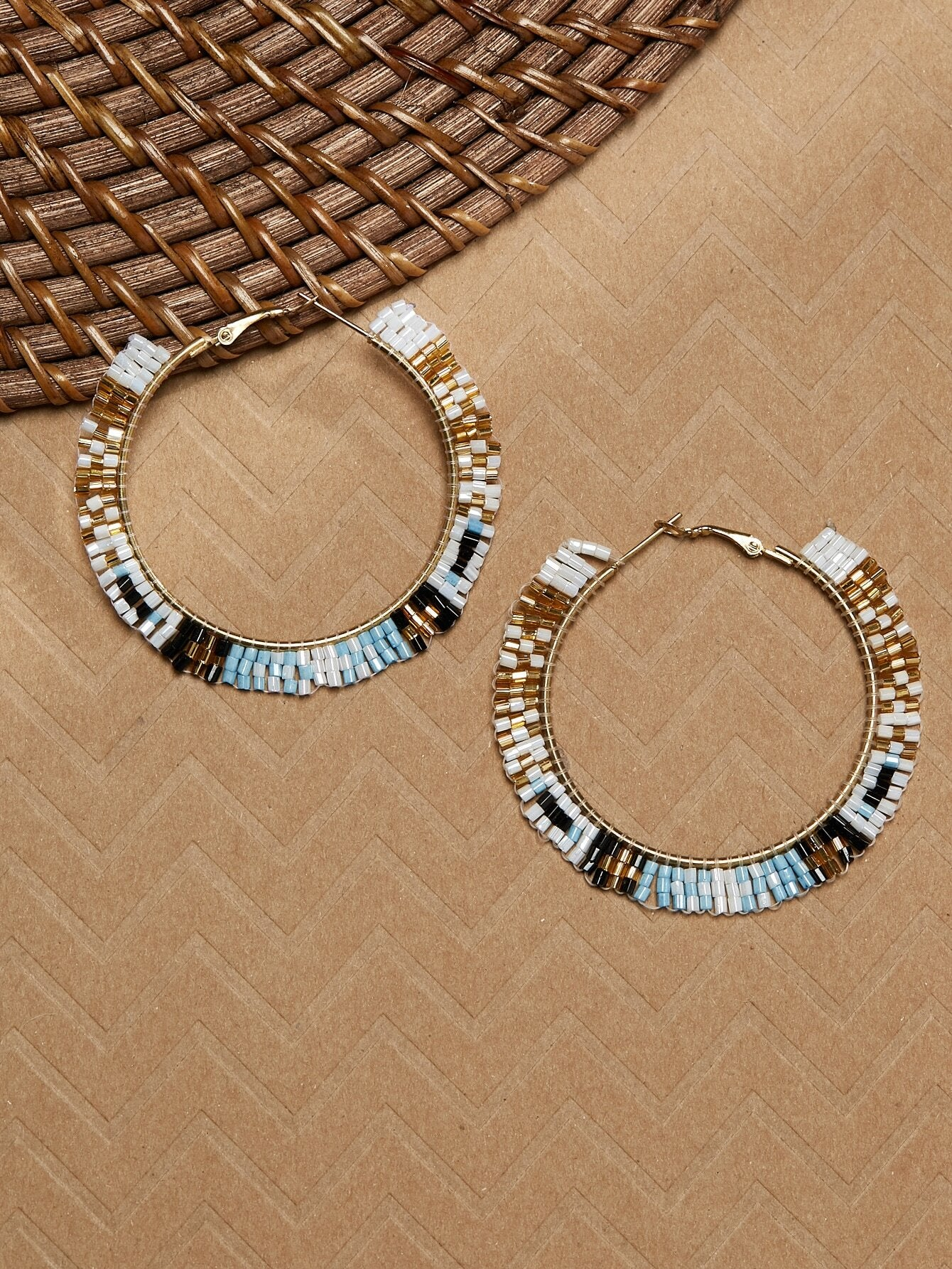 Multicolored Beaded With Gold Tone Large Hoop Earrings