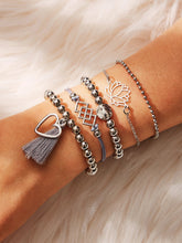 Load image into Gallery viewer, Grey 5pcs Lotus & Tassel Detail Silver Metal Beaded Bracelet