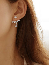 Load image into Gallery viewer, Silver Rhinestone Decor With Pearls 1 Pair Back Stud Earrings
